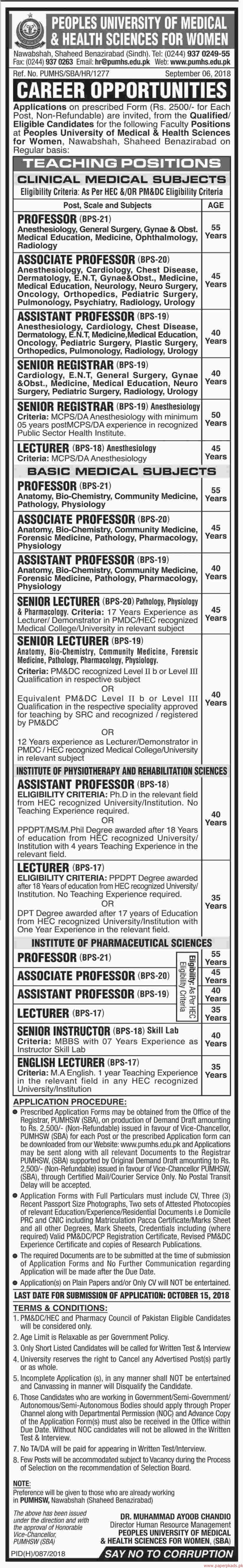 Peoples University of Medical & Health Sciences for Women Jobs 2018 latest