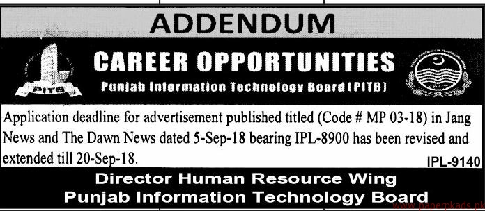 Punjab Information Technology Board PITB Jobs 2018 Latest