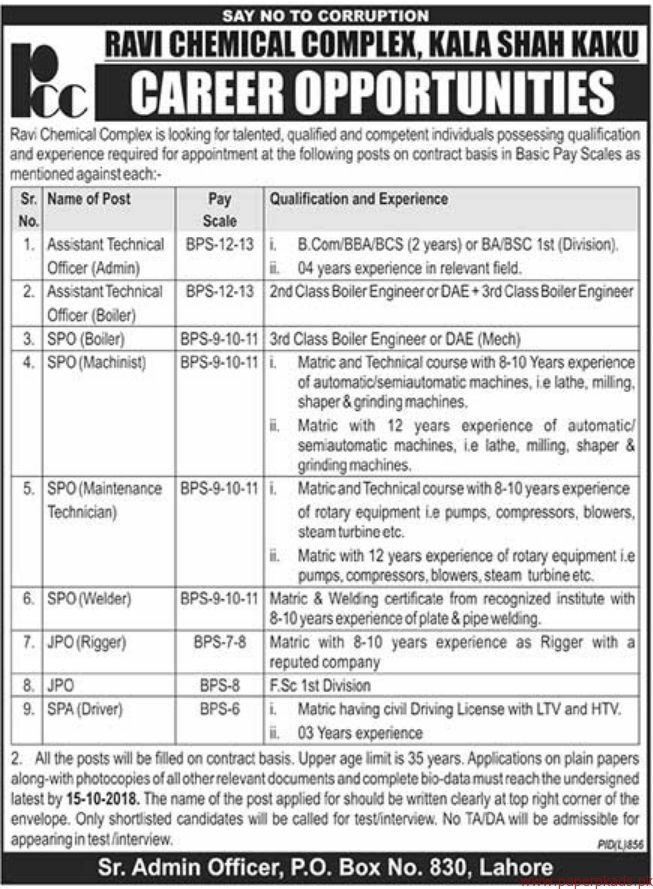 Ravi Chemical Complex Jobs 2018 Latest