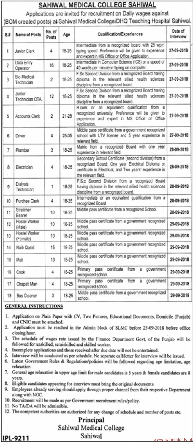 Sahiwal Medical College Jobs 2018 Latest