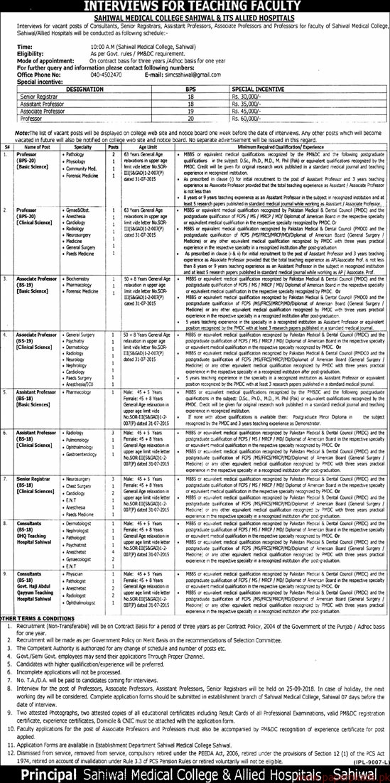 Sahiwal Medical College Sahiwal & Its Allied Hospitals Jobs 2018 Latest