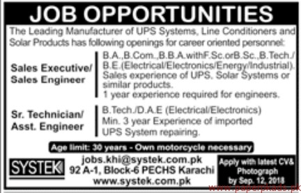 Sales Executives Sales Engineers and Sr Technicians Required