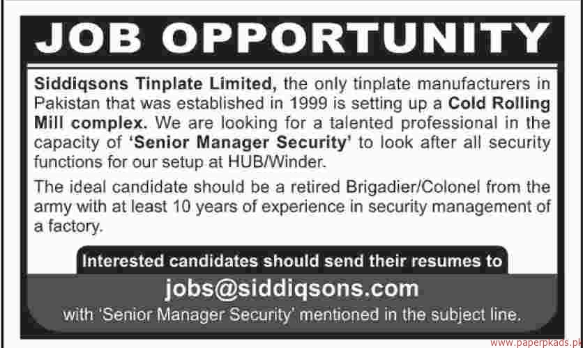 Siddiqsons Tinplate Limited Jobs 2018 Latest
