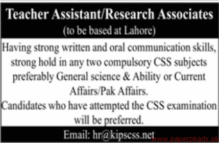 Teacher Assistant and Research Associates Jobs 2018 Latest
