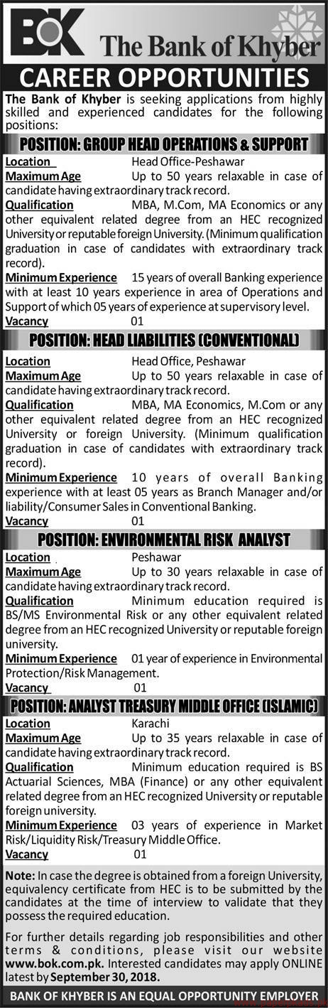 The Bank of Khyber Jobs 2018 Latest