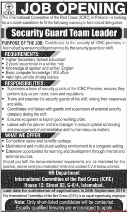 The International committee of the Red Cross ICRC Jobs 2018 Latest