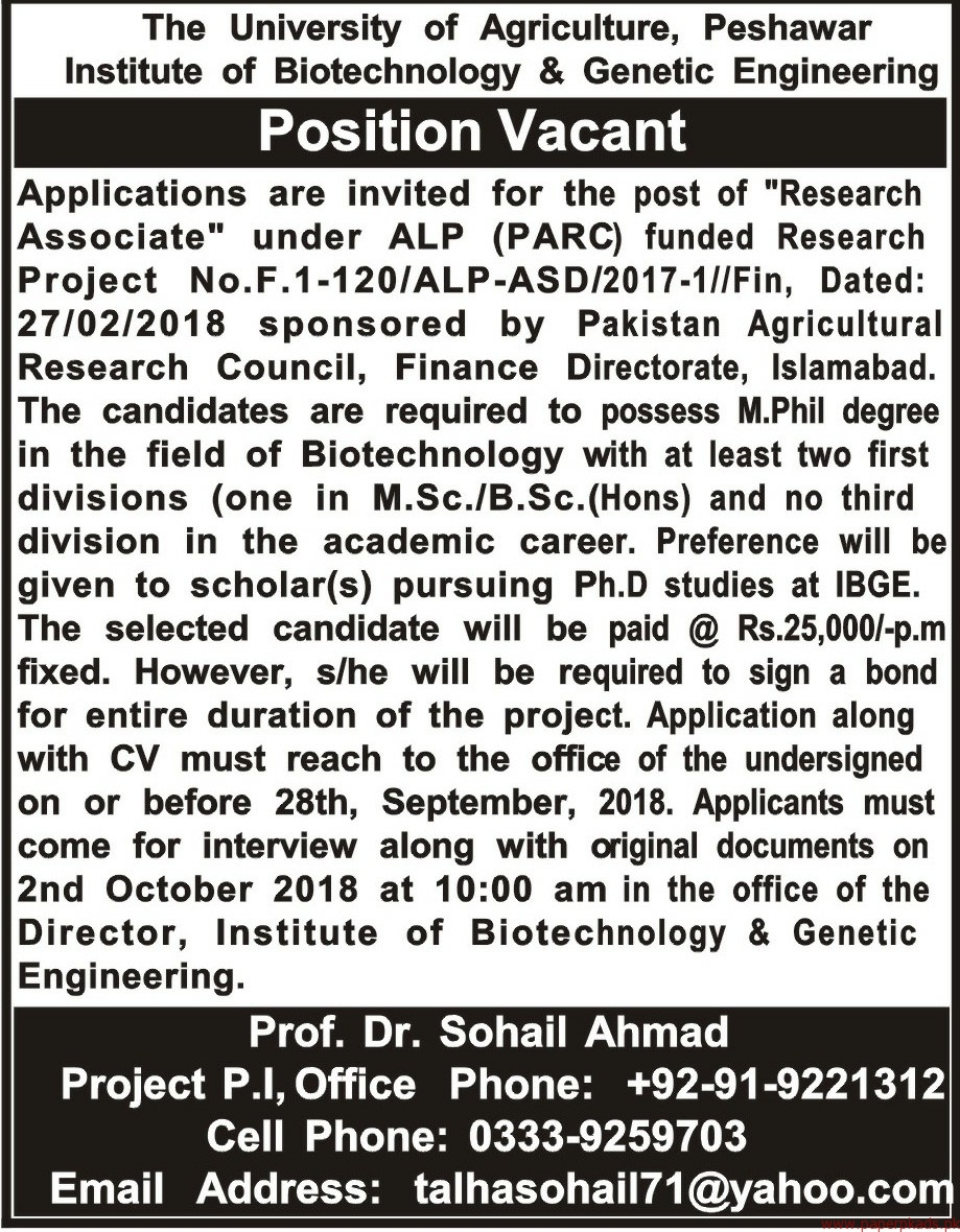 The University of Agriculture Jobs 2018 Latest