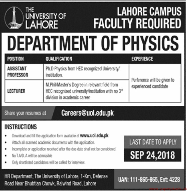 The University of Lahore Jobs 2018 Latest