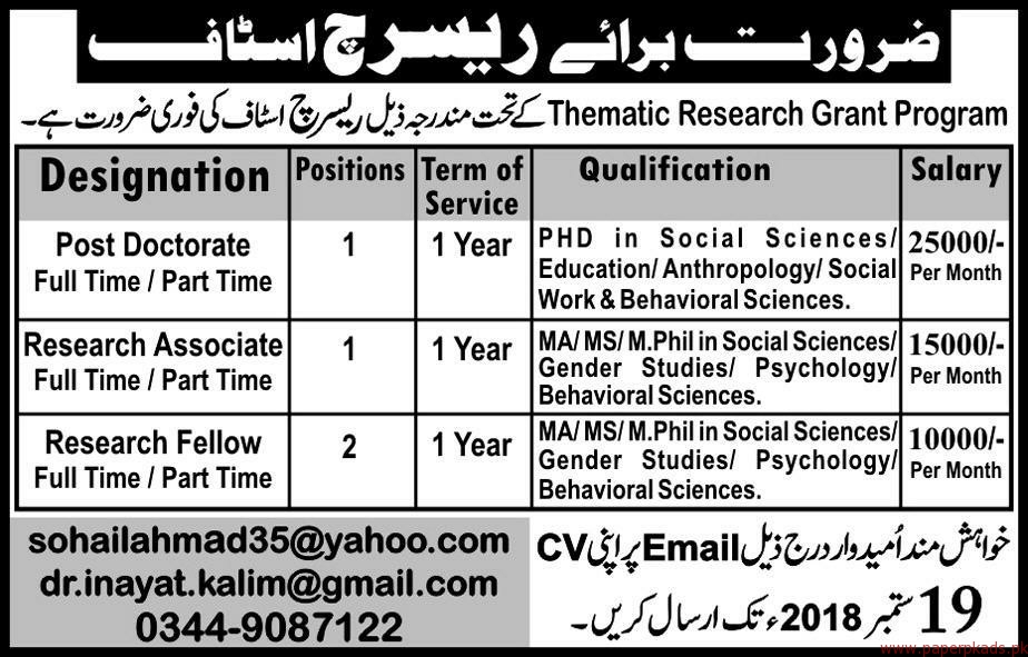 Thematic Research Grant Program Staff Required