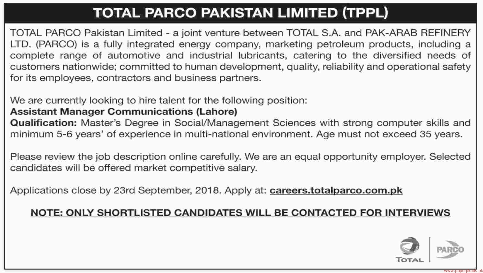 Total Parco Pakistan Limited Jobs 2018 Latest