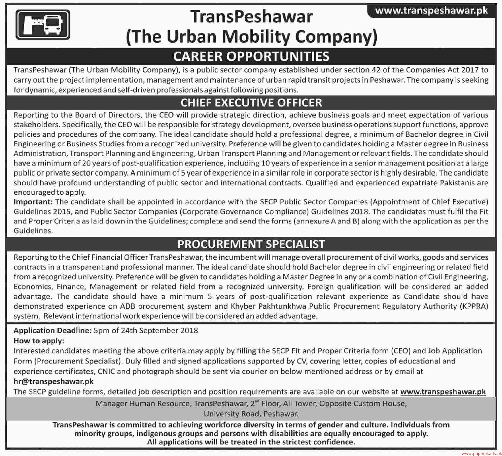 TransPeshawar The Urban Mobility Company Jobs 2018 Latest
