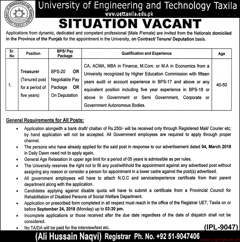 University of Engineering and Technology Taxila Jobs 2018 Latest