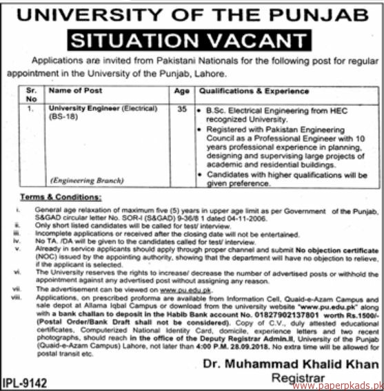 University of the Punjab Jobs 2018 Latest