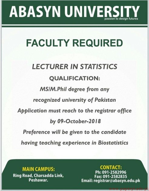 ABASYN University Jobs 2018 Latest