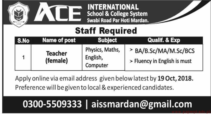 ACE International School and College System Jobs 2018 Latest