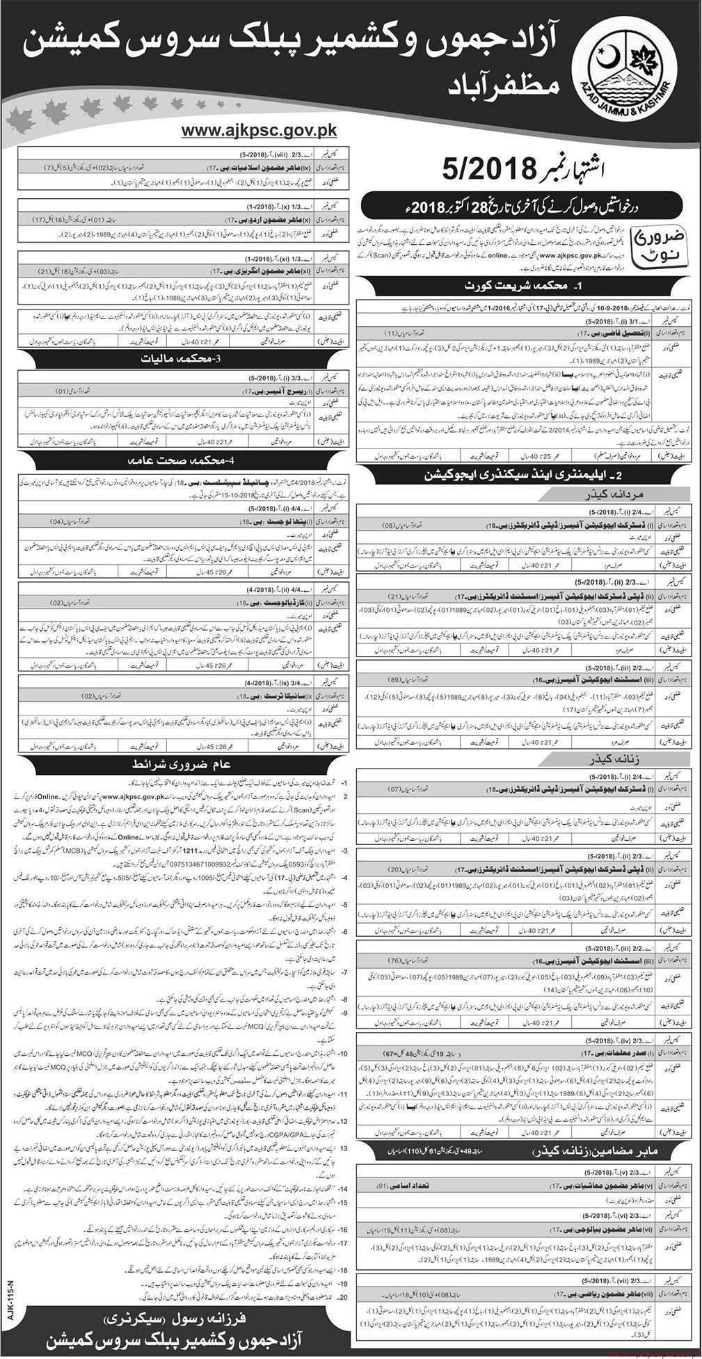AJ&K Public Service Commission Jobs 2018 Latest