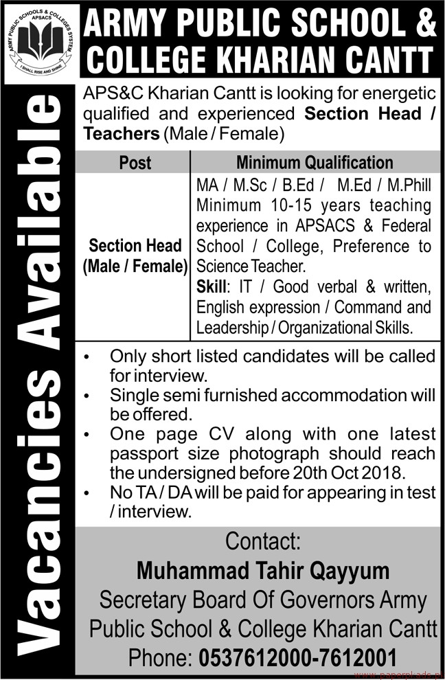 Army Public School and College Jobs 2018 Latest