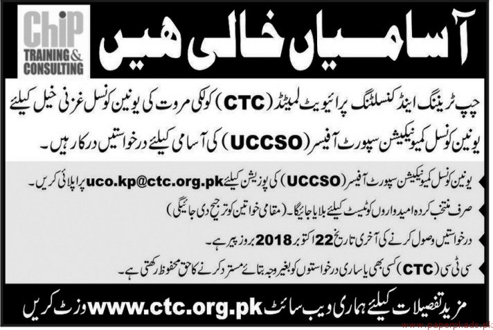 CHIP Training & Consulting Jobs 2018 Latest