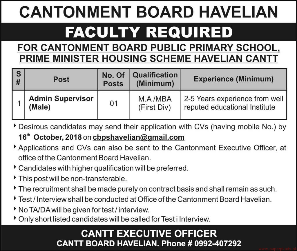 Cantonment Board Jobs 2018 Latest