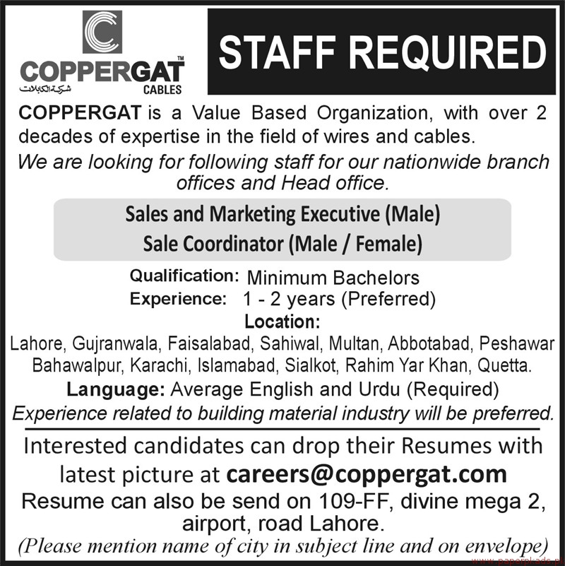 Copperagat Cables Organization Jobs 2018 Latest