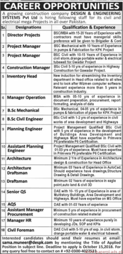 Design Engineering Systems Private Limited Jobs 2018 Latest