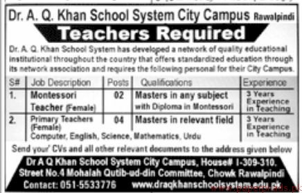 Dr AQ Khan School System Jobs 2018 Latest