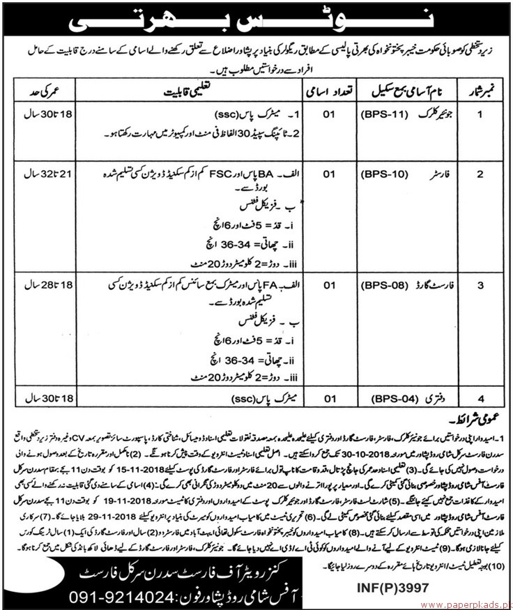 Forest Department Jobs 2018 Latest - 1