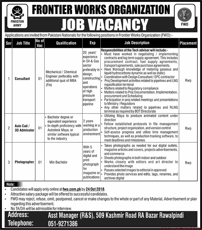 Frontier Works Organization FWO Jobs 2018 Latest