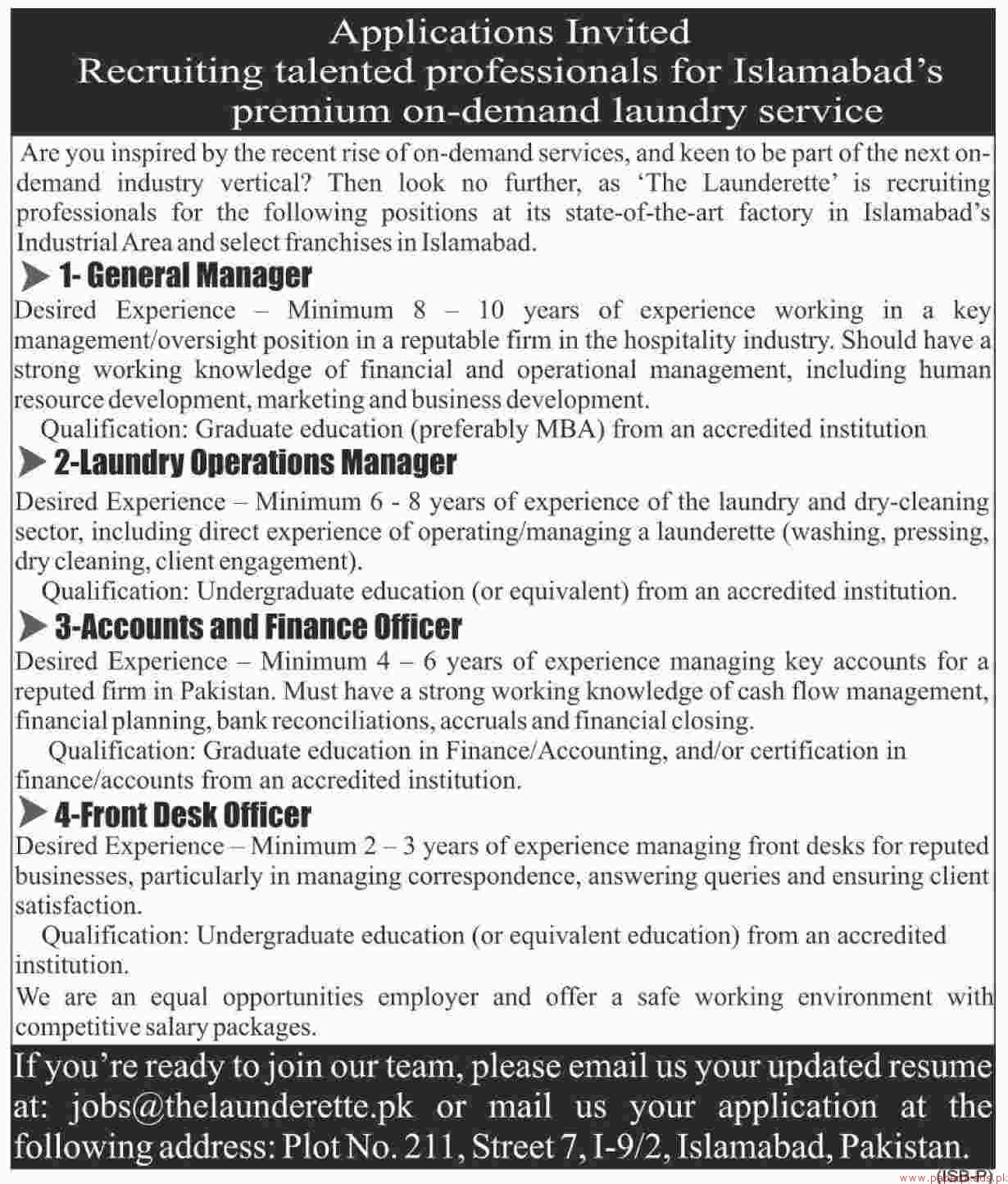 General Manager, Front Desk Officers, Accounts and Finance Officer Jobs