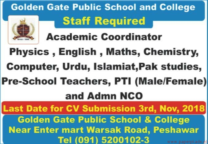 Golden Gate Public School and College Jobs 2018 Latest