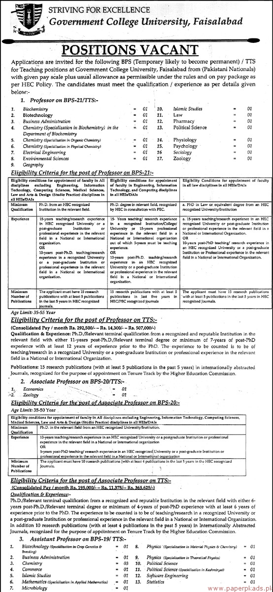 Government College University Faisalabad Jobs - Page 1 - Jobs 2018 Latest