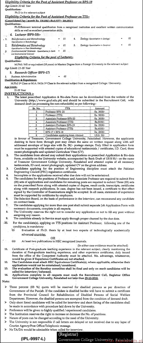 Government College University Faisalabad Jobs - Page 2 - Jobs 2018 Latest
