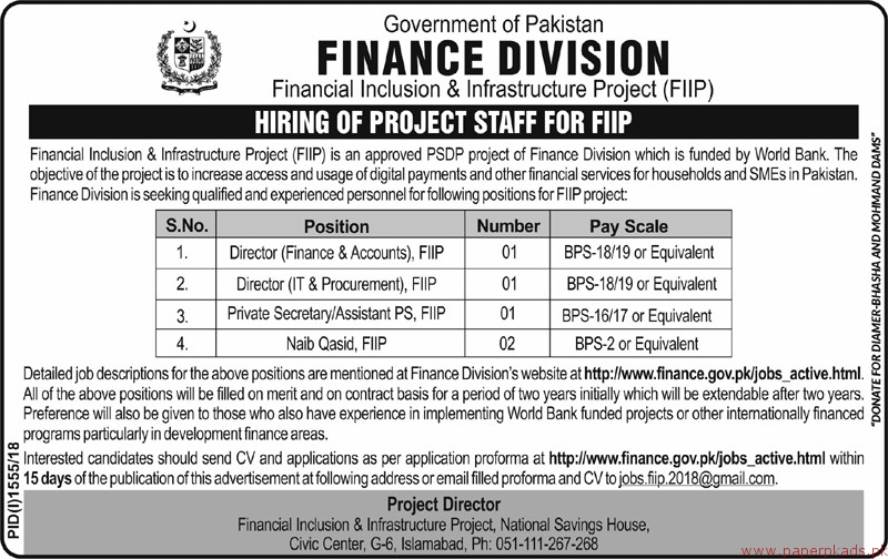 Government of Pakistan - FInance Division Jobs 2018 Latest