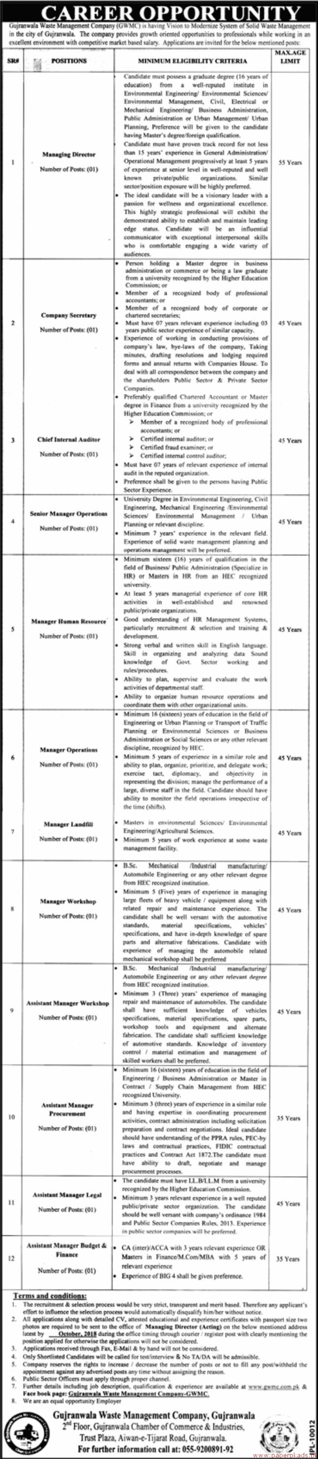 Gujranwala Waste Management Company GWMC Jobs 2018 Latest