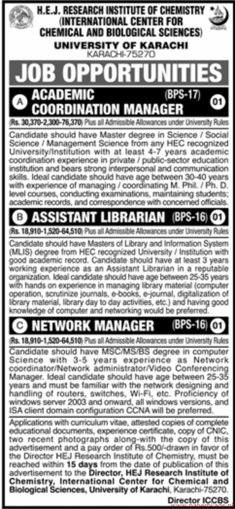 HEJ Research Institute of Chemistry - University of Karachi Jobs 2018 Latest