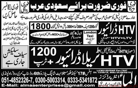 HTV Drivers Required for Saudi Arabia