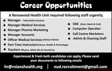 Health Unit Staff Required