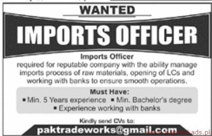 Imports Officer Required