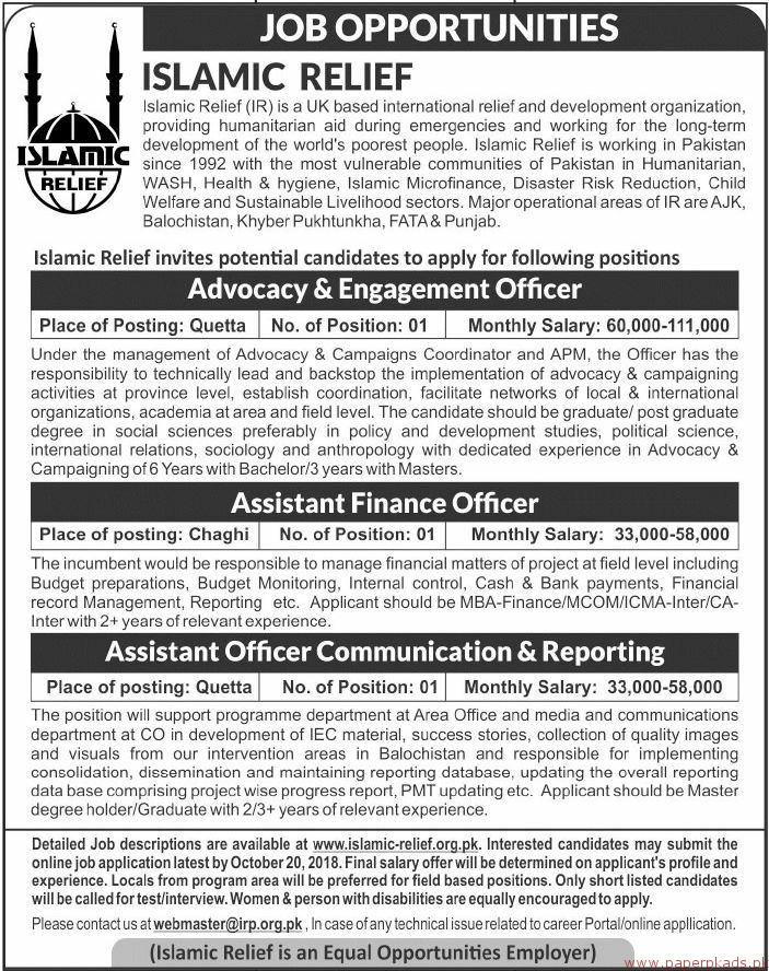 Islamic Relief IR Jobs 2018 Latest