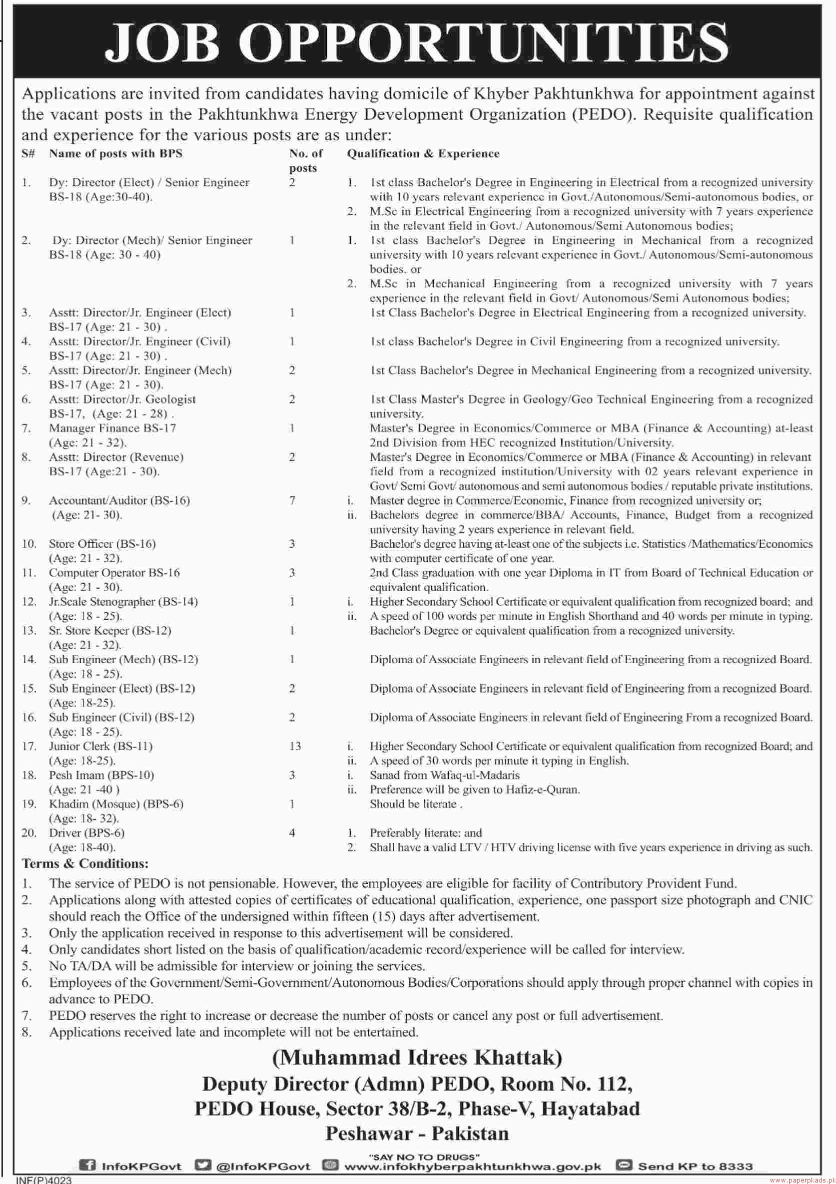 Khyber Pakhtunkhwa Energy Development Organization (PEDO) jobs 2018 Latest