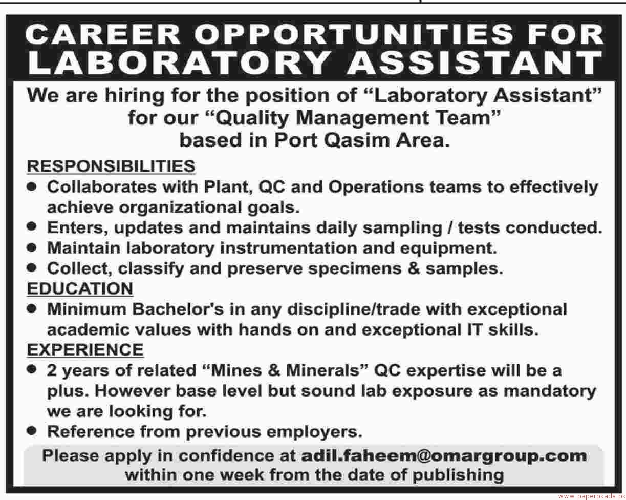 Laboratory Assistant Required