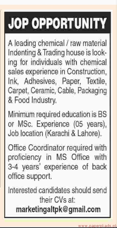 Leading Chemical and Raw Material Indenting & Trading House Jobs 2018 Latest