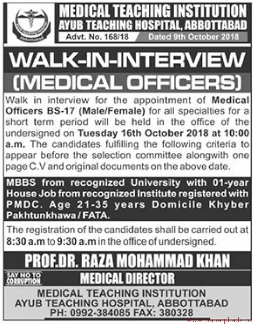 Medical Teaching Institution Jobs 2018 Latest