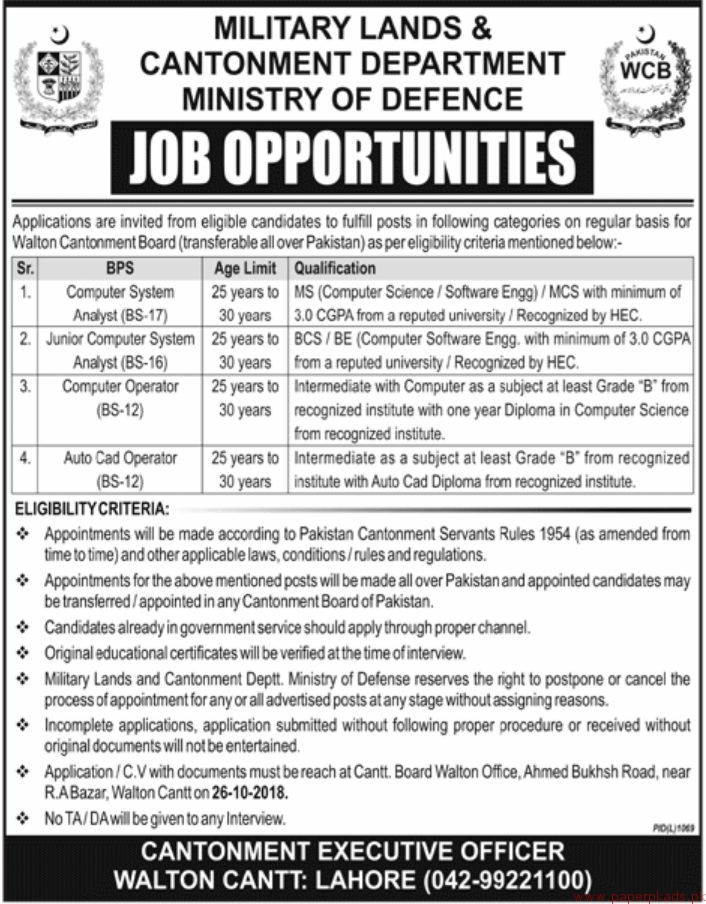 Military Lands & Cantonment Department Ministry of Defence Jobs 2018 Latest