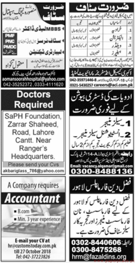 Multiple Jobs - Page 1 - Jang Newspaper Jobs ads 14 October