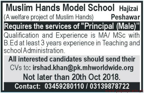 Muslim Hands Model School Jobs 2018 Latest
