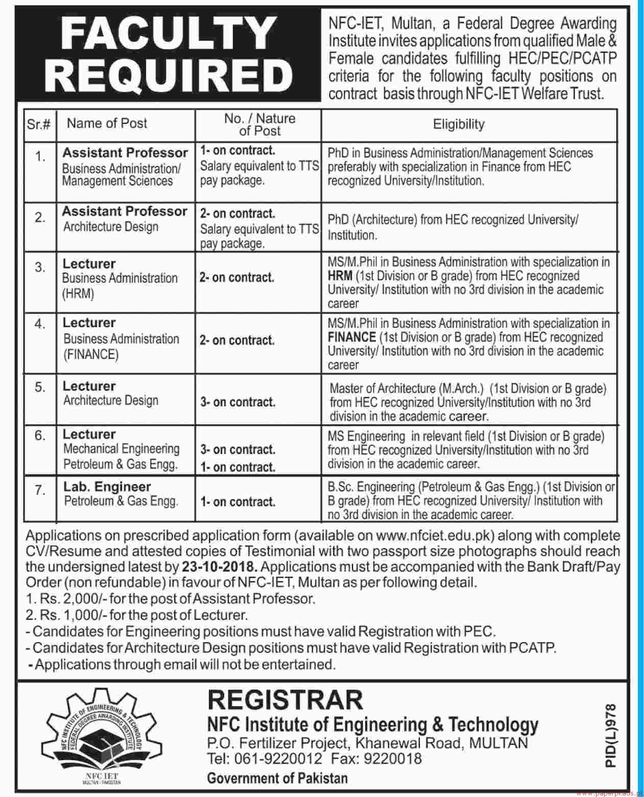 NFC Institute of Engineering & Technology Jobs 2018 Latest