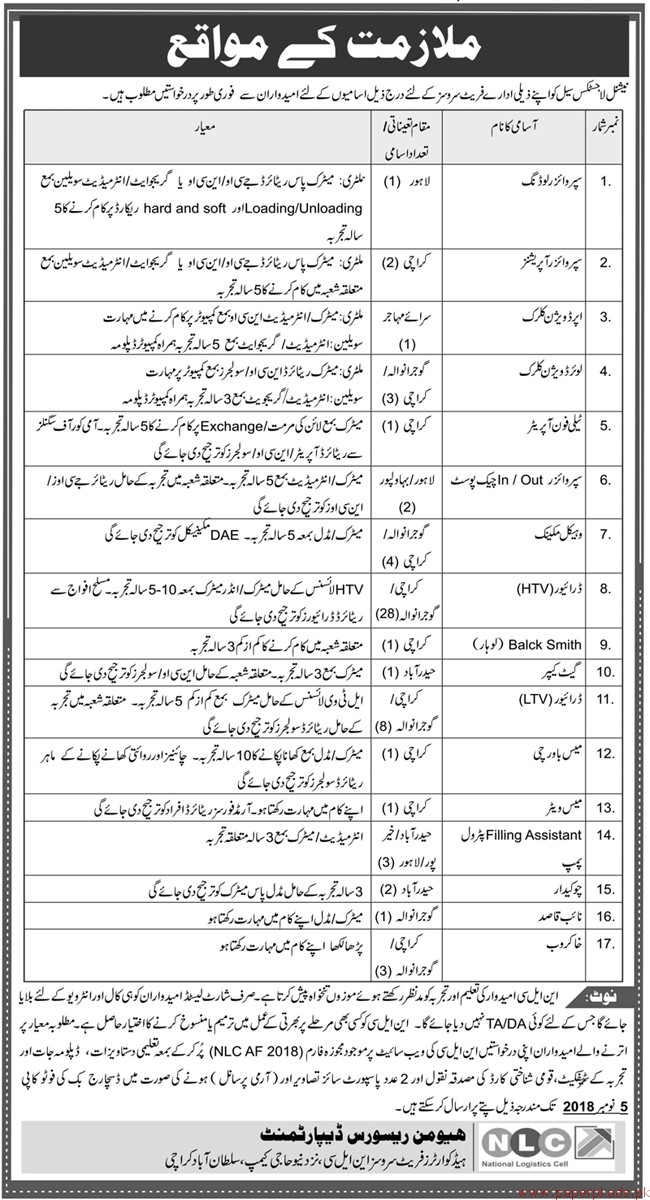 NLC National Logistic Cell Jobs 2018 Latest