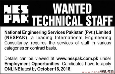 National Engineering Services Pakistan Private Limited Jobs 2018 Latest