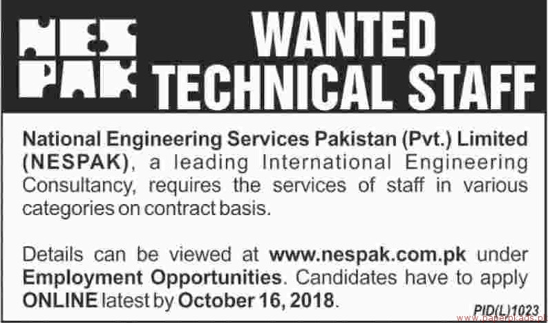 National Engineering Services Pakistan Private Limited NESPAK Jobs 2018 Latest